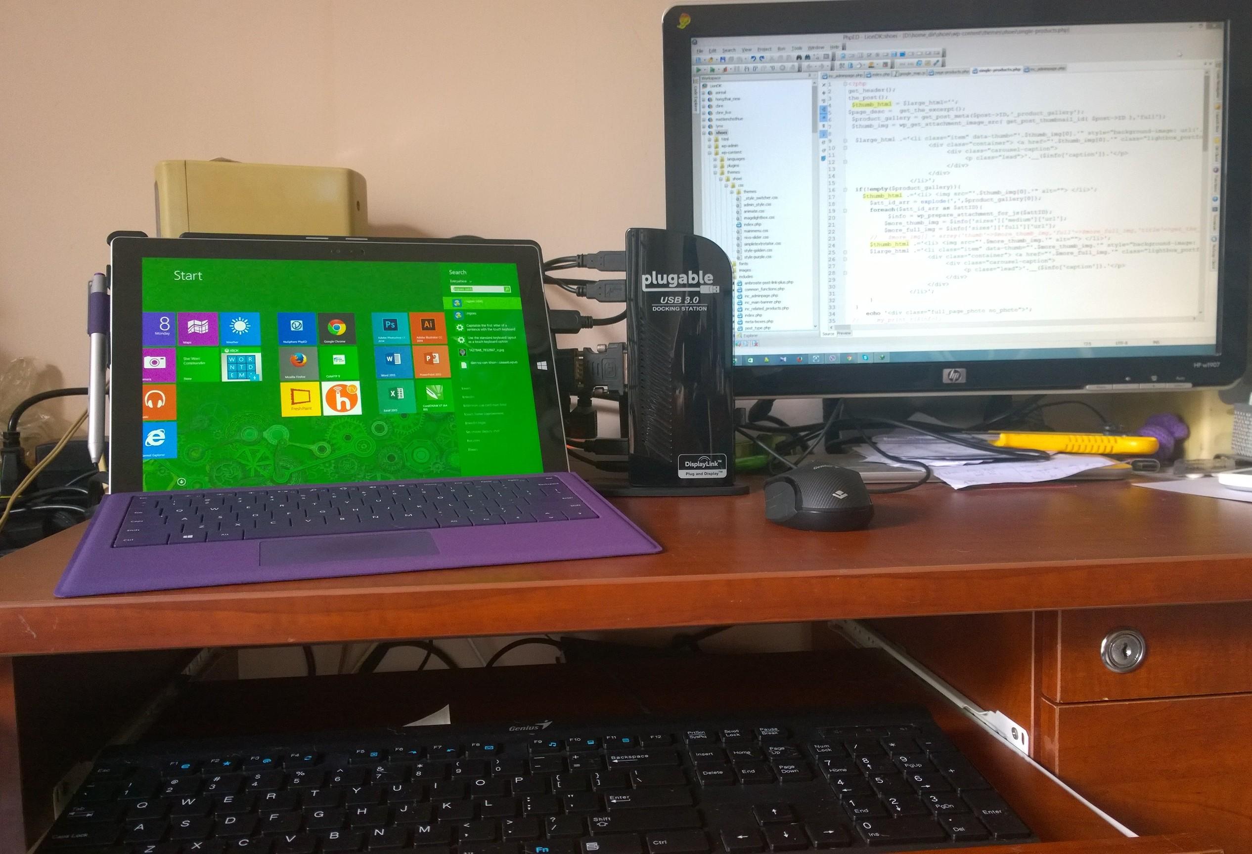 Plugable UD-3900 kết hợp với Surface Pro3. Cặp đôi hoàn hảo!!